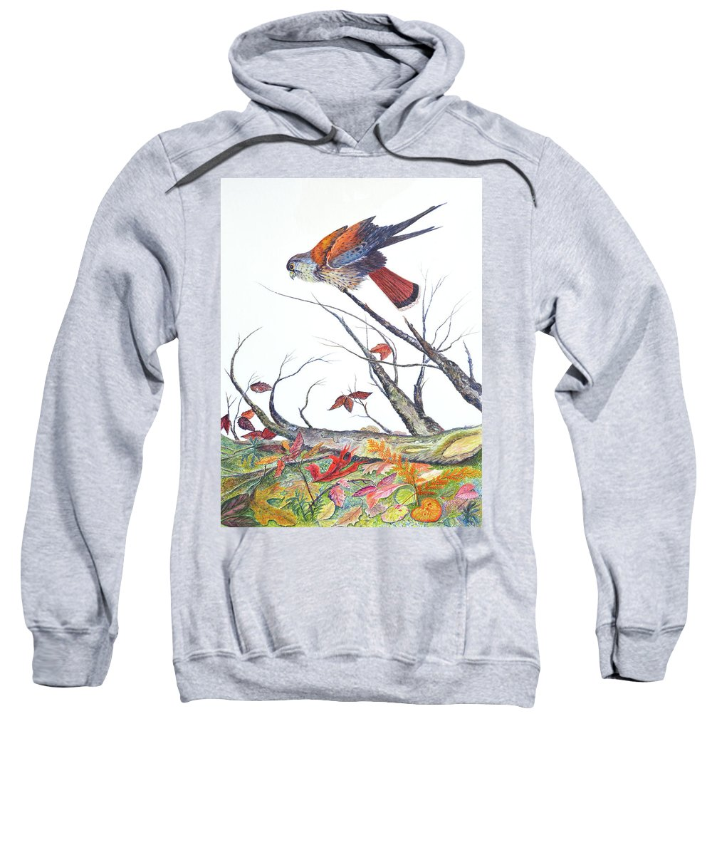 Bird Sweatshirt featuring the painting American Kestrel by Ben Kiger