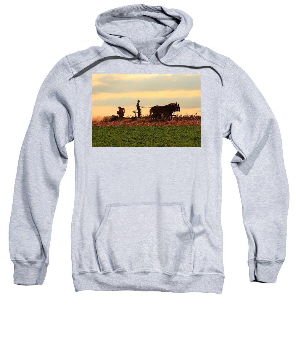 Amish Sweatshirt featuring the photograph Amish Farmer by Lou Ford