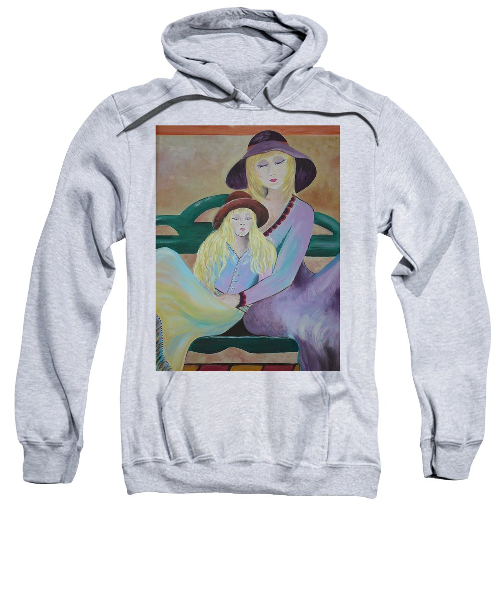 Mother/daughter Sweatshirt featuring the painting Angel Face by Kris Crollard