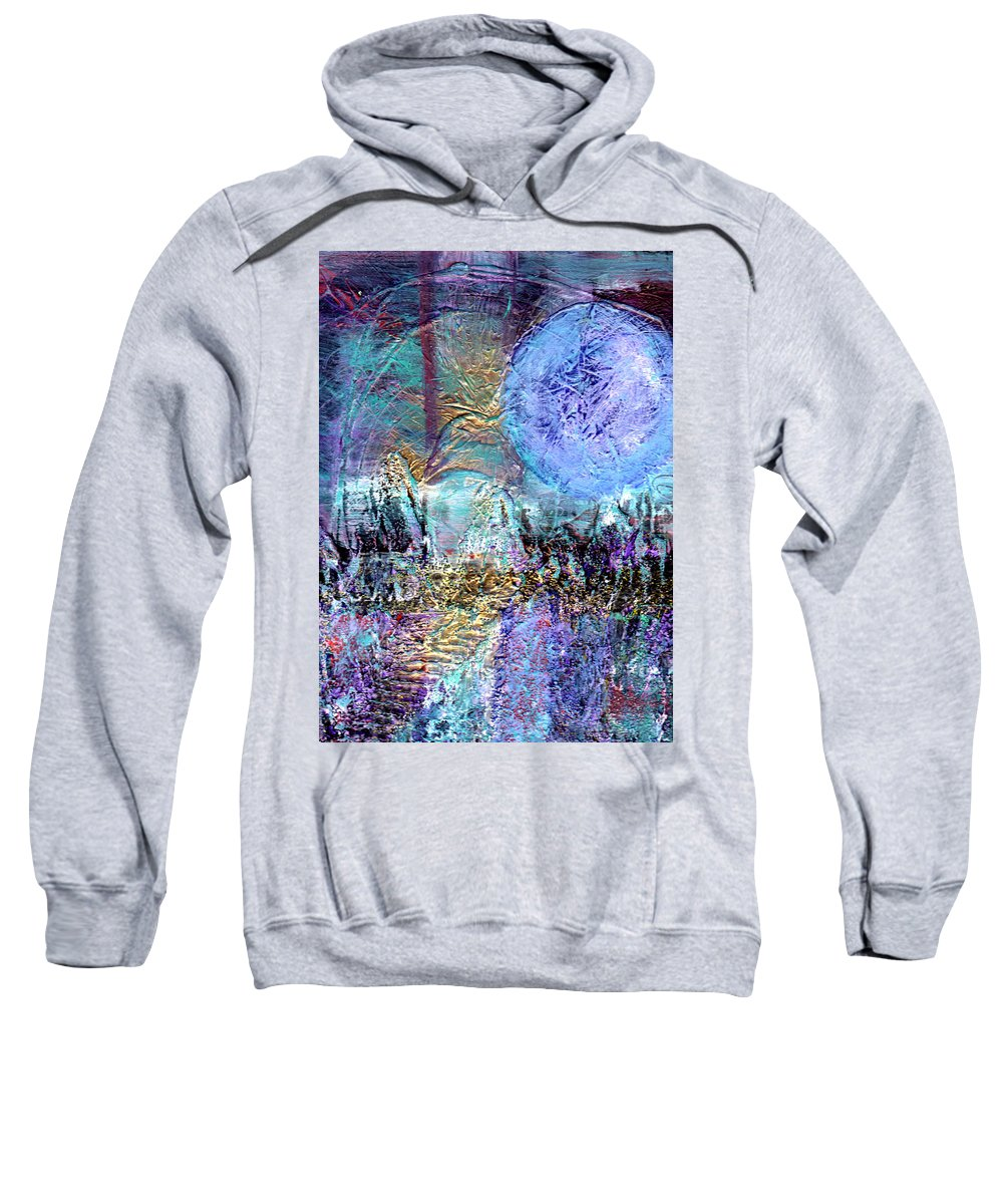 Abstract Sweatshirt featuring the painting Another World by Wayne Potrafka
