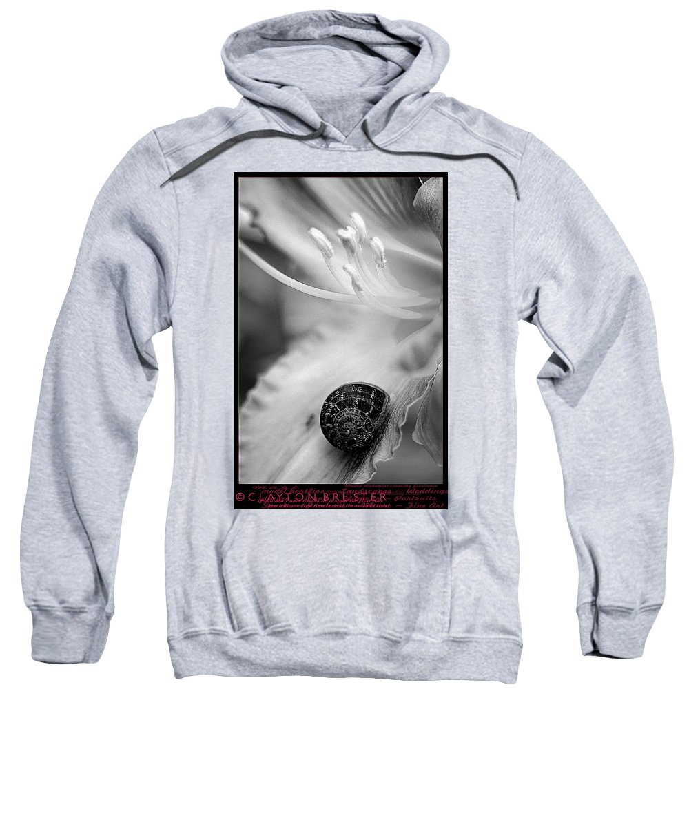 Clay Sweatshirt featuring the photograph B And White Floral With Snail by Clayton Bruster