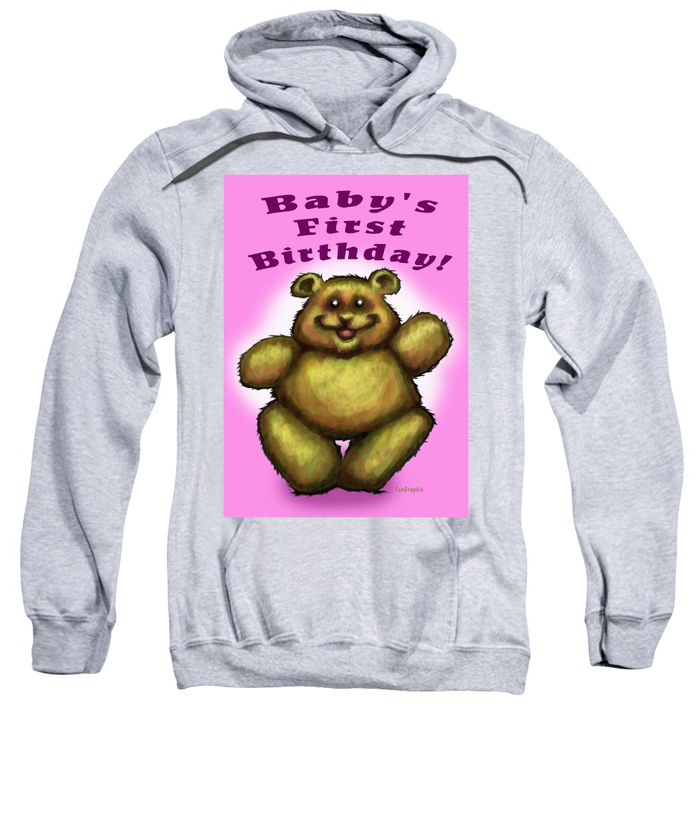 Baby Sweatshirt featuring the greeting card Babys First Birthday by Kevin Middleton