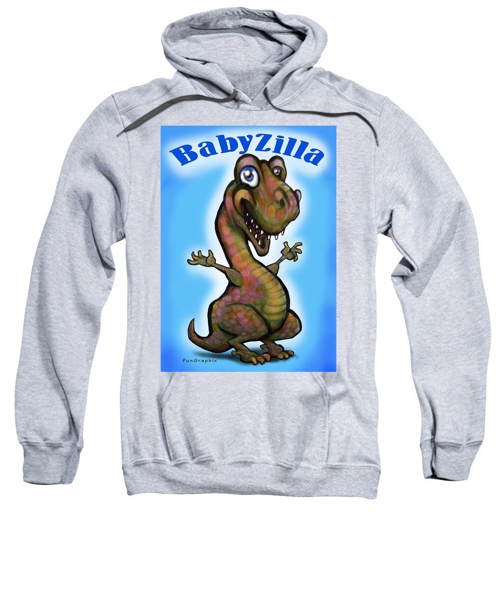 Babyzilla Sweatshirt featuring the greeting card Babyzilla by Kevin Middleton