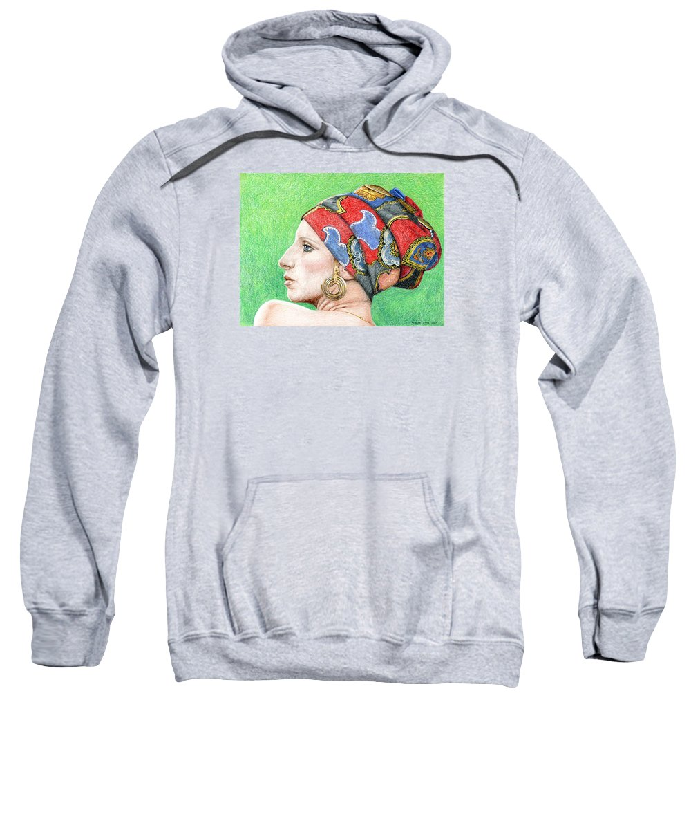 Singer Sweatshirt featuring the drawing Barbra Streisand by Rob De Vries
