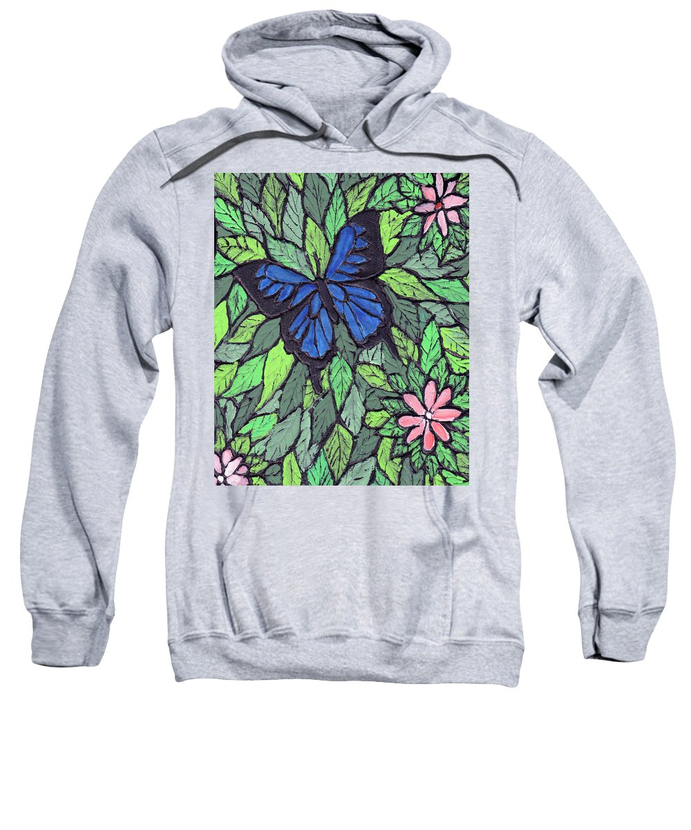 Butterfly Sweatshirt featuring the painting Blue Butterfly Two by Wayne Potrafka