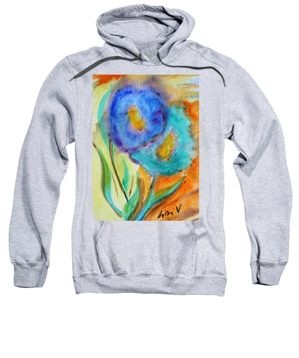Flowers Sweatshirt featuring the painting Blue Flowers by Luiza Vizoli