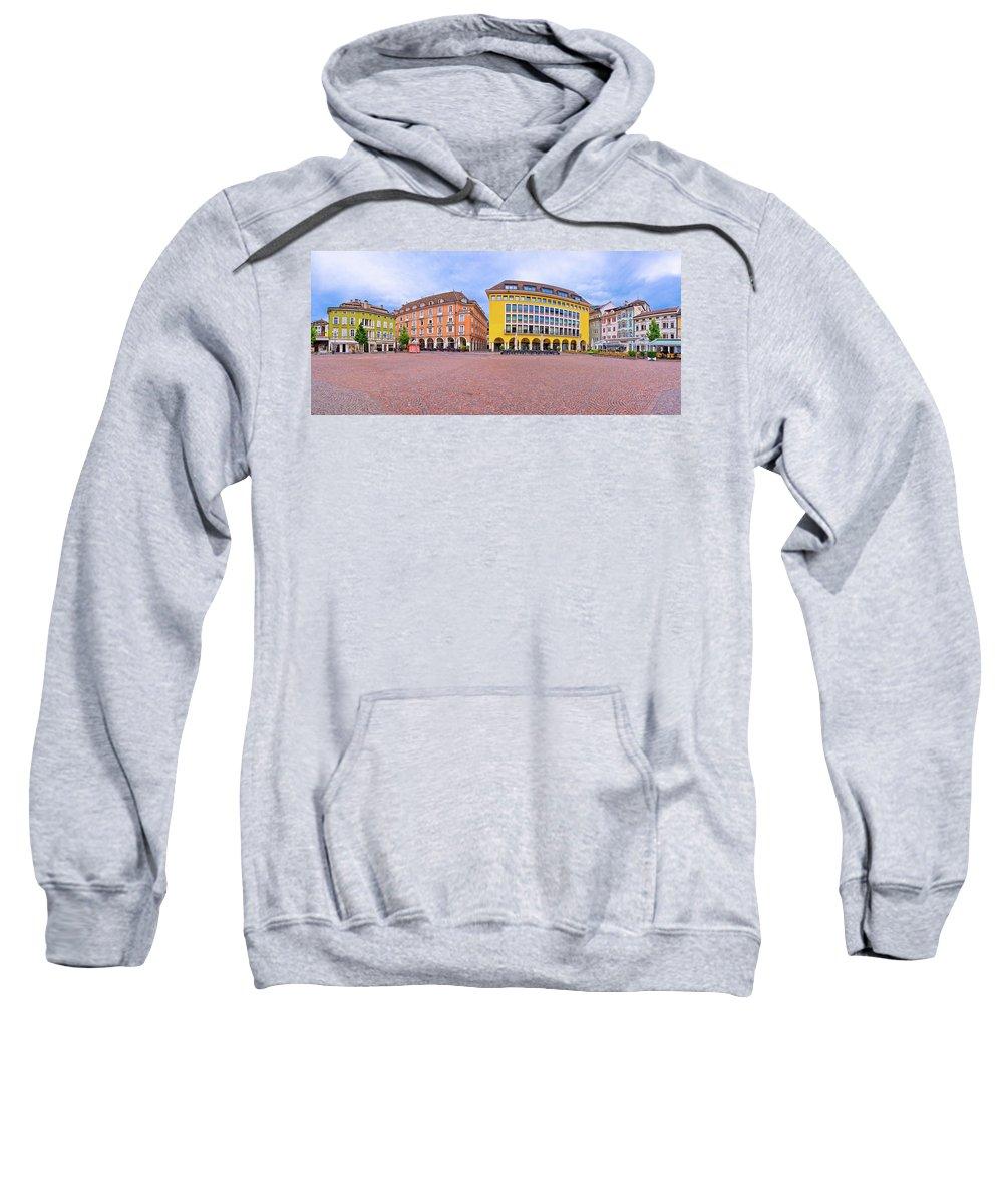 Bolzano Sweatshirt featuring the photograph Bolzano Main Square Waltherplatz Panoramic View by Brch Photography