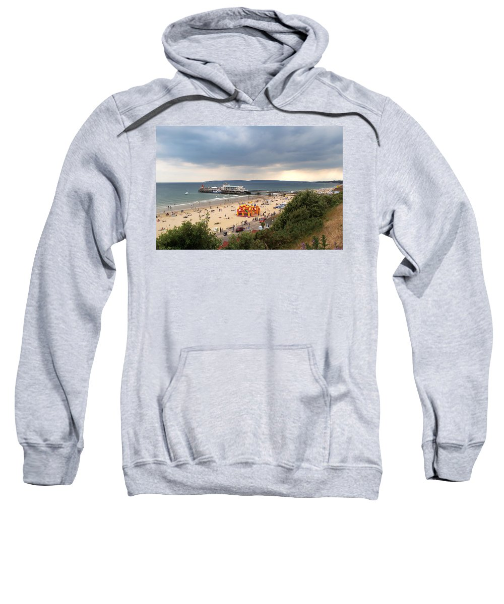 Bournemouth Sweatshirt featuring the photograph Bournemouth Pier And Beach by Chris Day