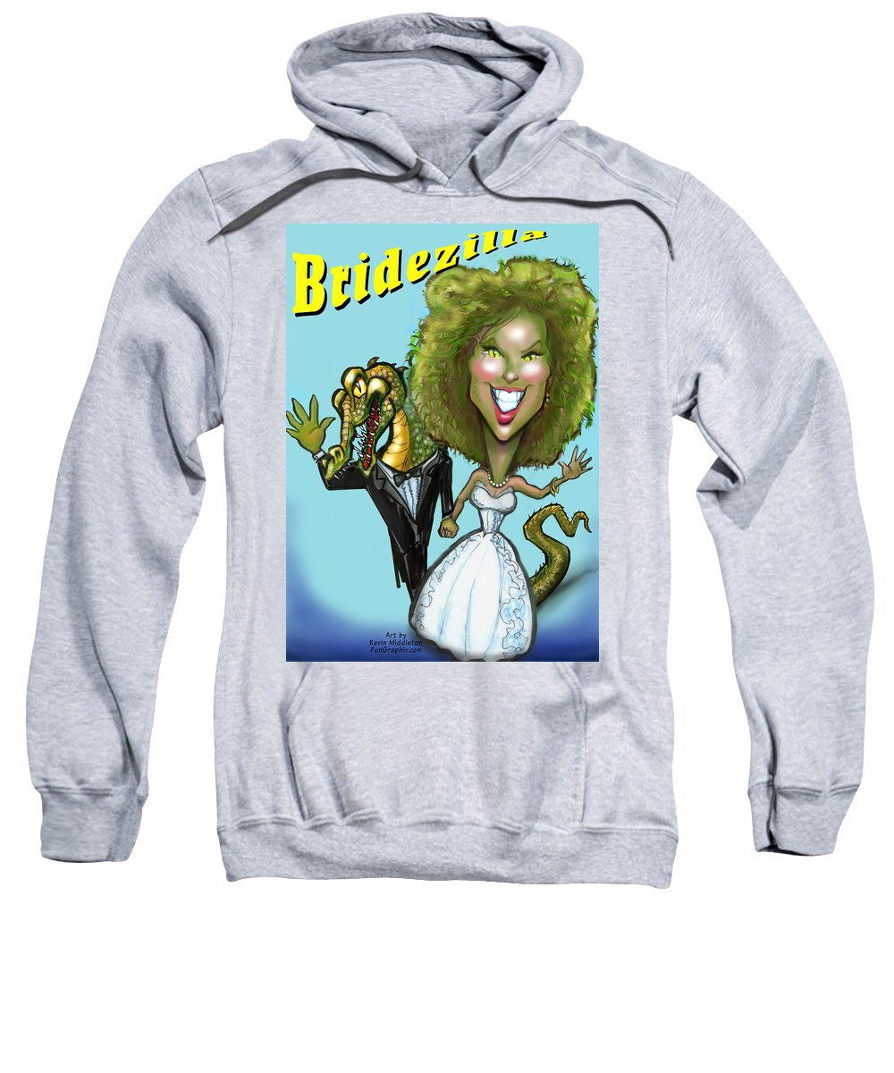 Bridezilla Sweatshirt featuring the greeting card Bridezilla by Kevin Middleton