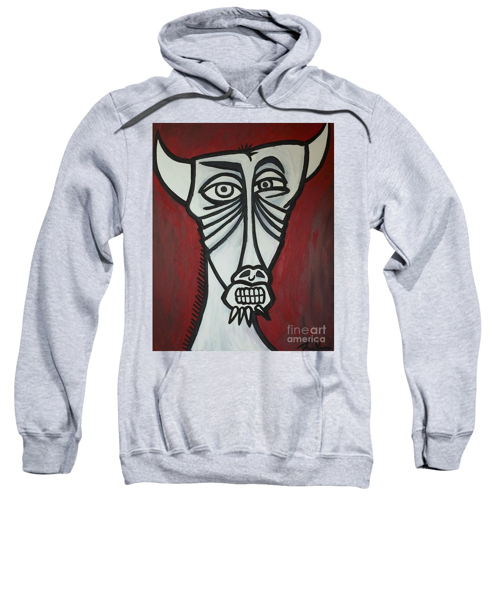 Clay Sweatshirt featuring the painting Bull by Thomas Valentine