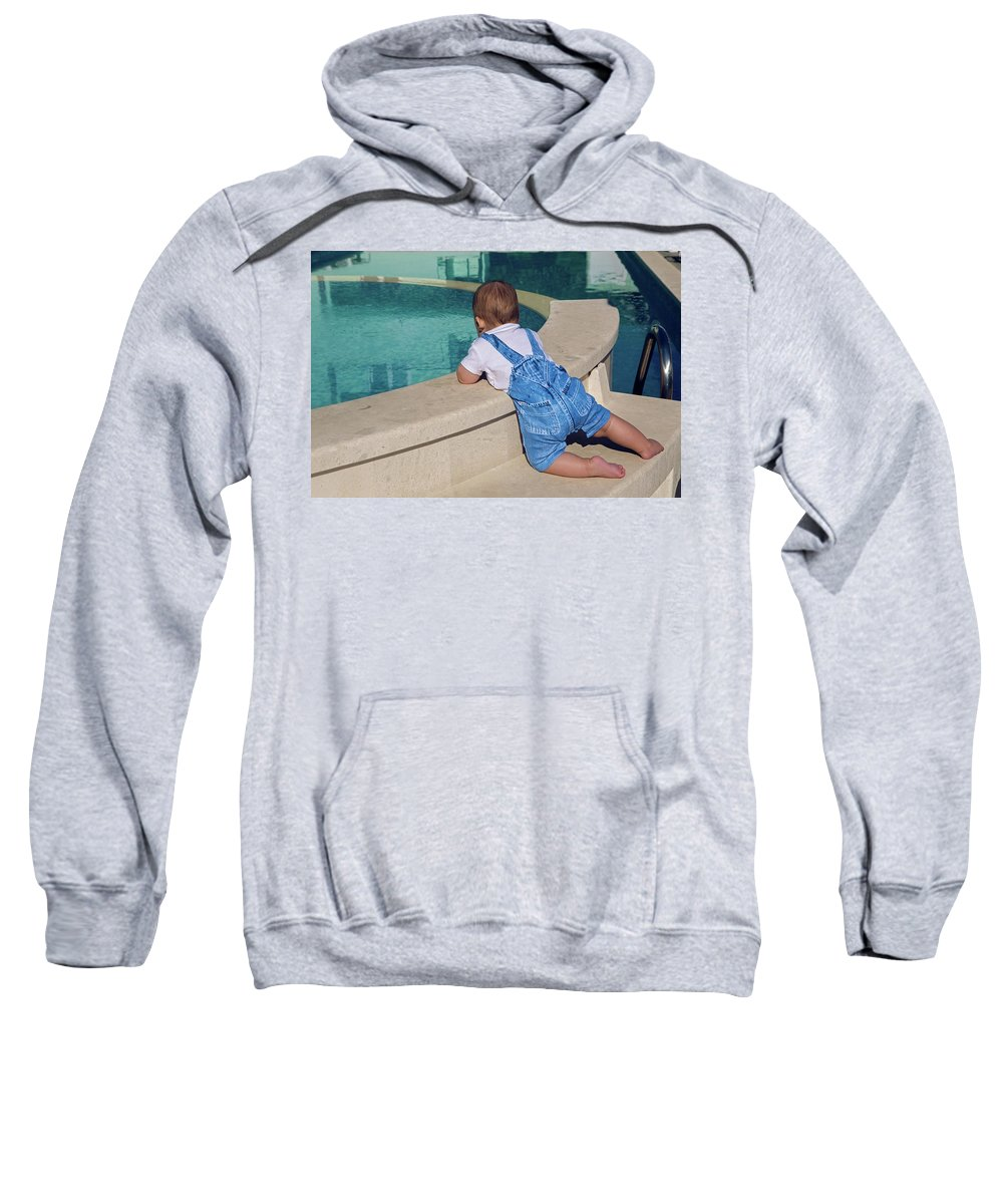 Pool Sweatshirt featuring the photograph Child In A Denim Suit Sits by Elena Saulich