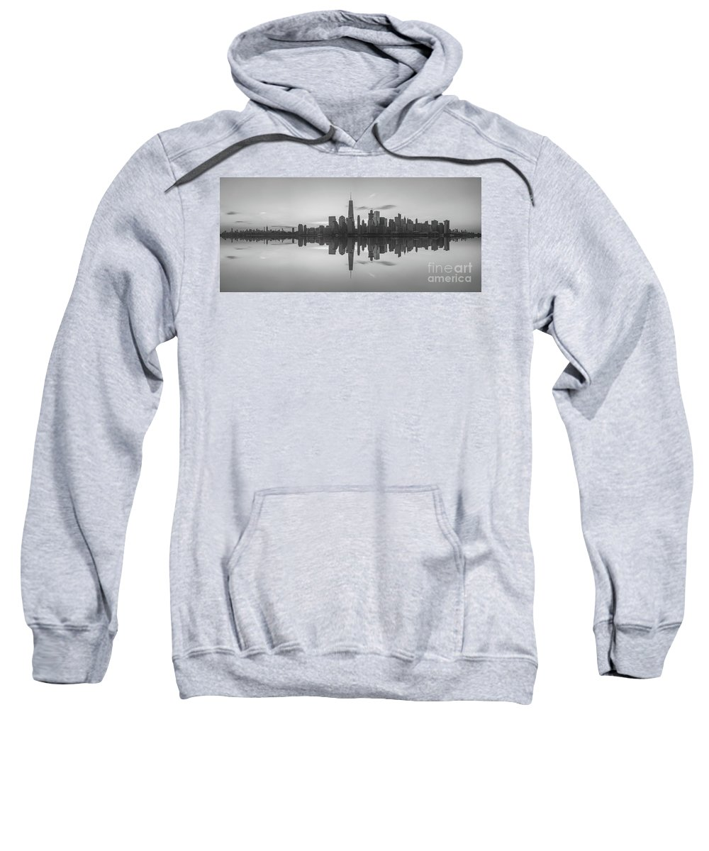 Lower Manhattan Sweatshirt featuring the photograph City Skyline Reflections Panorama 1 by Michael Ver Sprill
