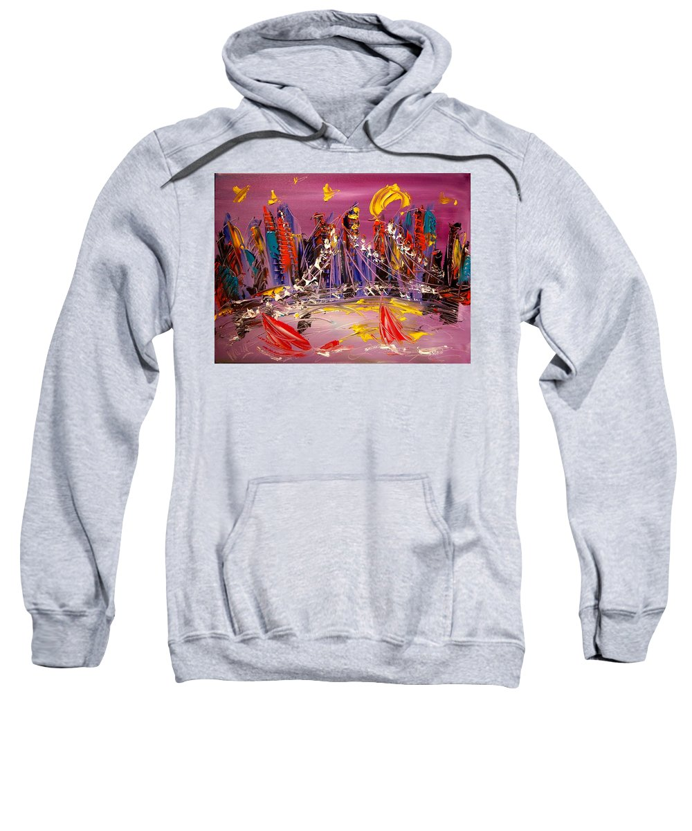 Sweatshirt featuring the painting Cityscape by Mark Kazav