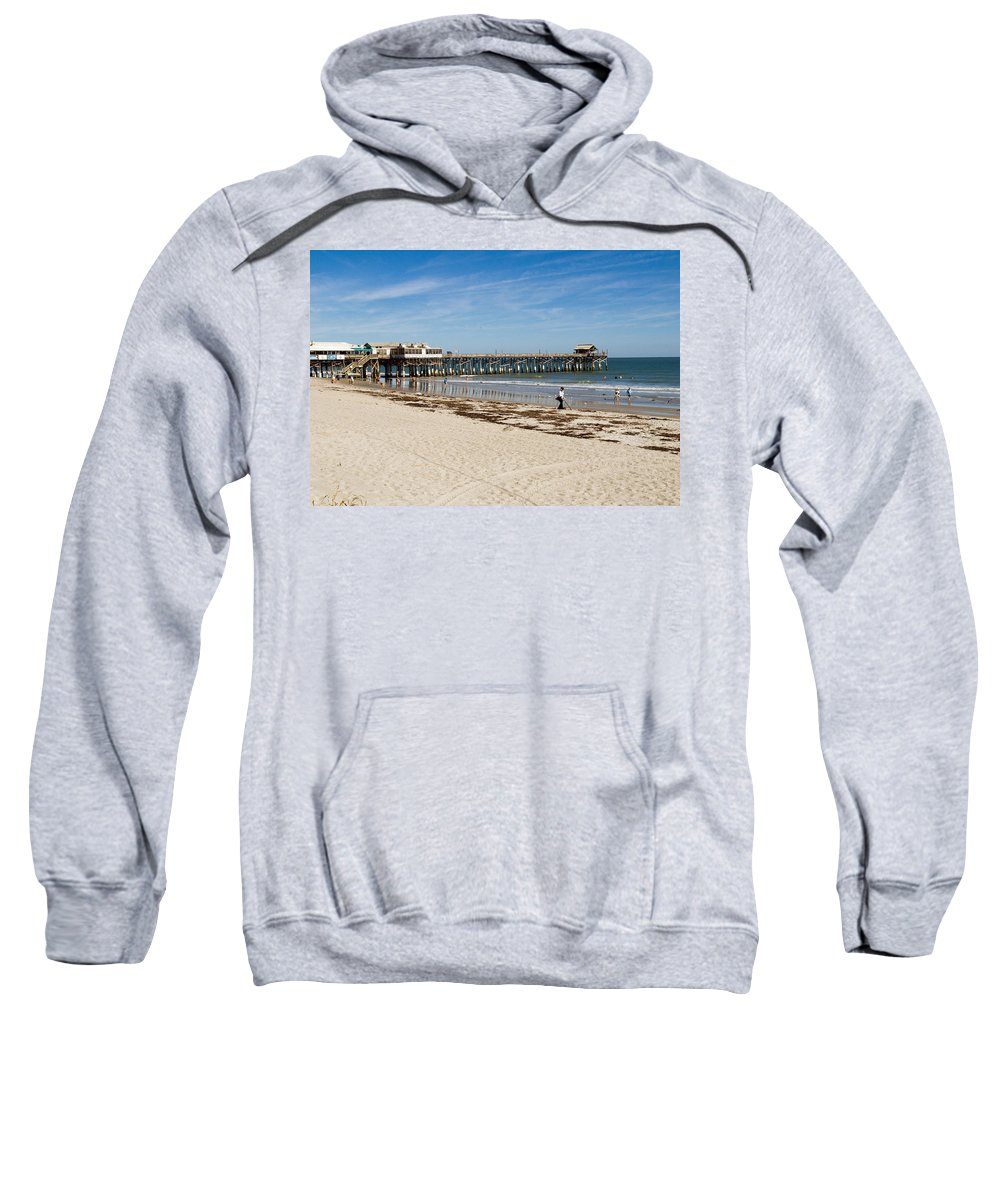Florida; Cocoa; Beach; Atlantic; Ocean; East; Space; Coast; Brevard; Central; Pier; Surf; Surfing; F Sweatshirt featuring the photograph Cocoa Beach In Florida by Allan Hughes