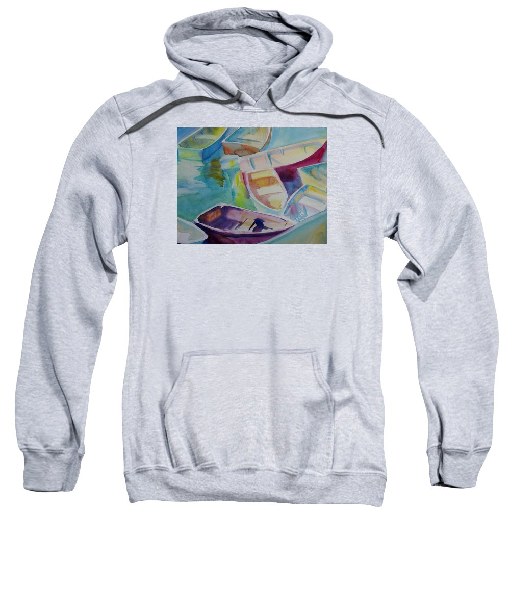 Boats Sweatshirt featuring the painting Colorfull Dingies by Linda Emerson