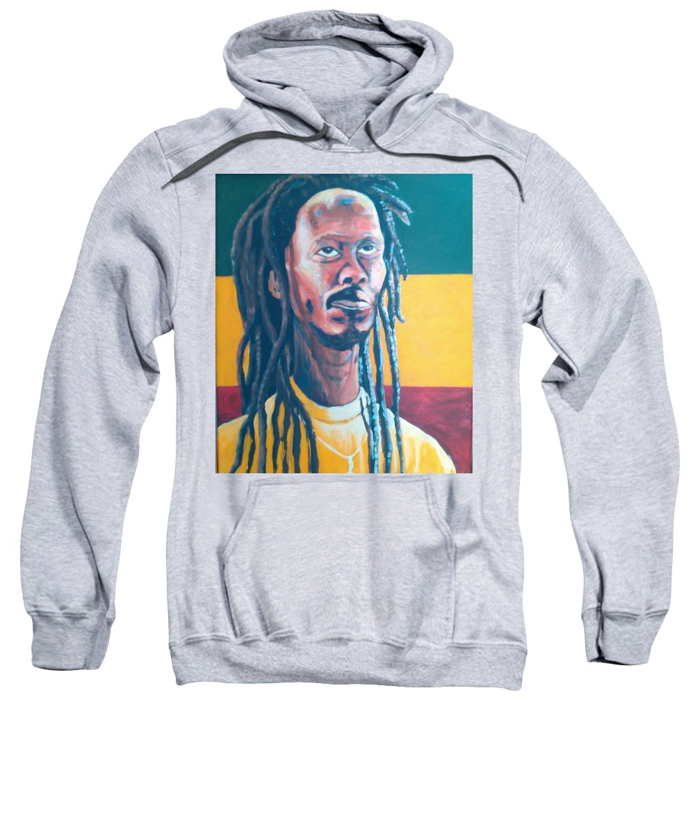 Rasta Portrait Sweatshirt featuring the painting ColorPS by Andrew Johnson