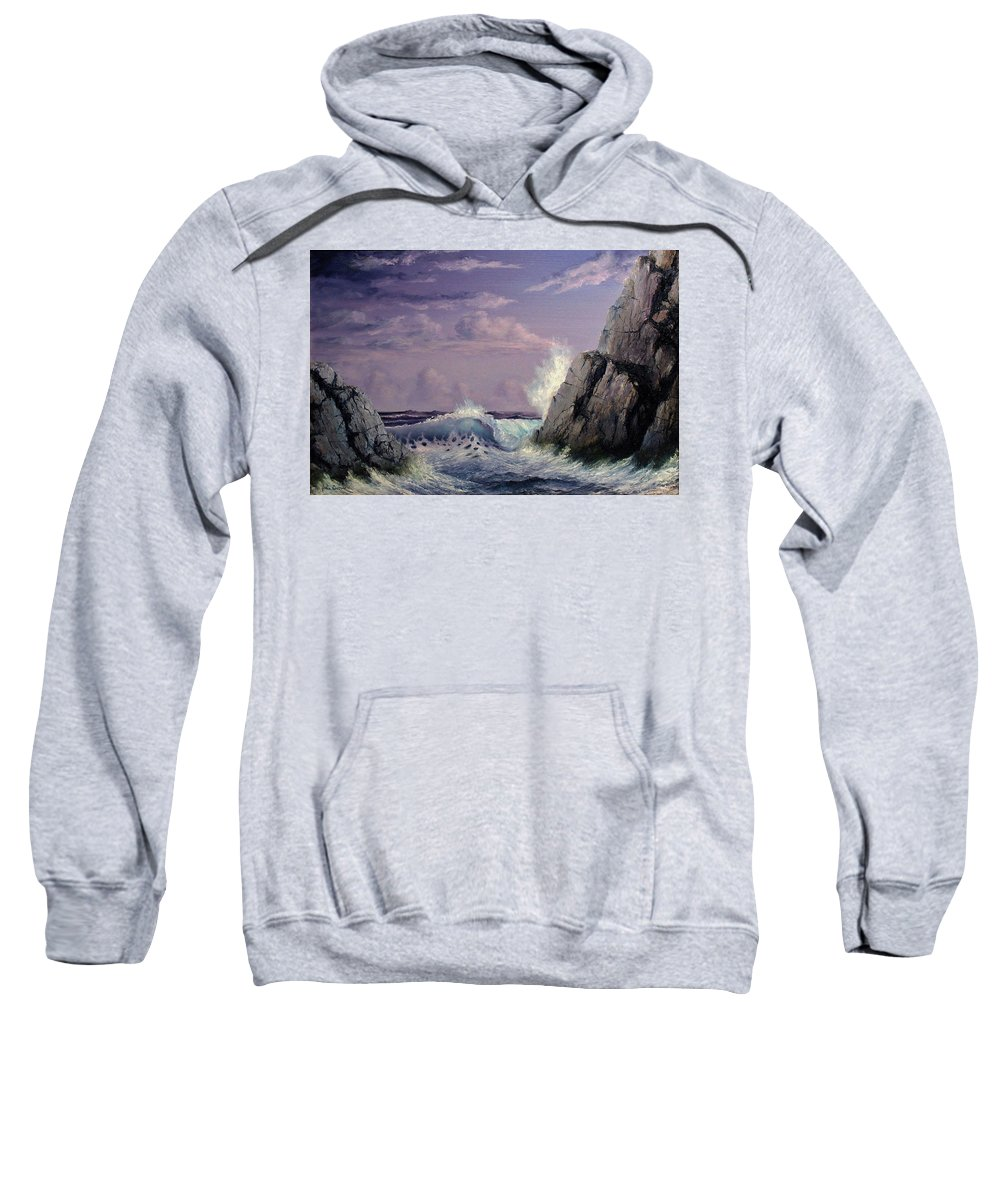 Seascape.seascape Oil Painting Sweatshirt featuring the painting Crashing Wave by John Cocoris