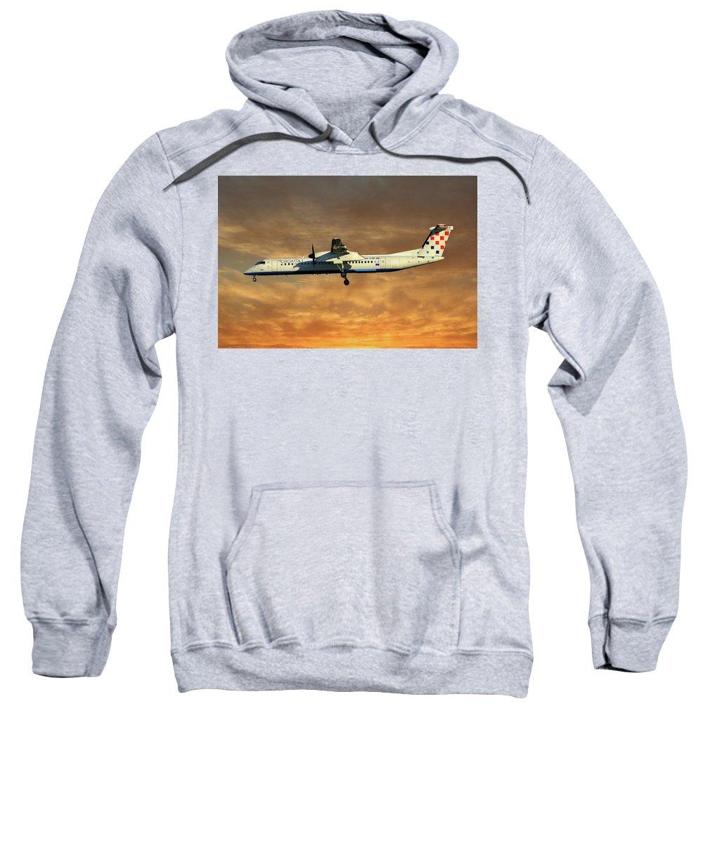 Croatia Sweatshirt featuring the photograph Croatia Airlines Bombardier Dash 8 Q400 by Smart Aviation