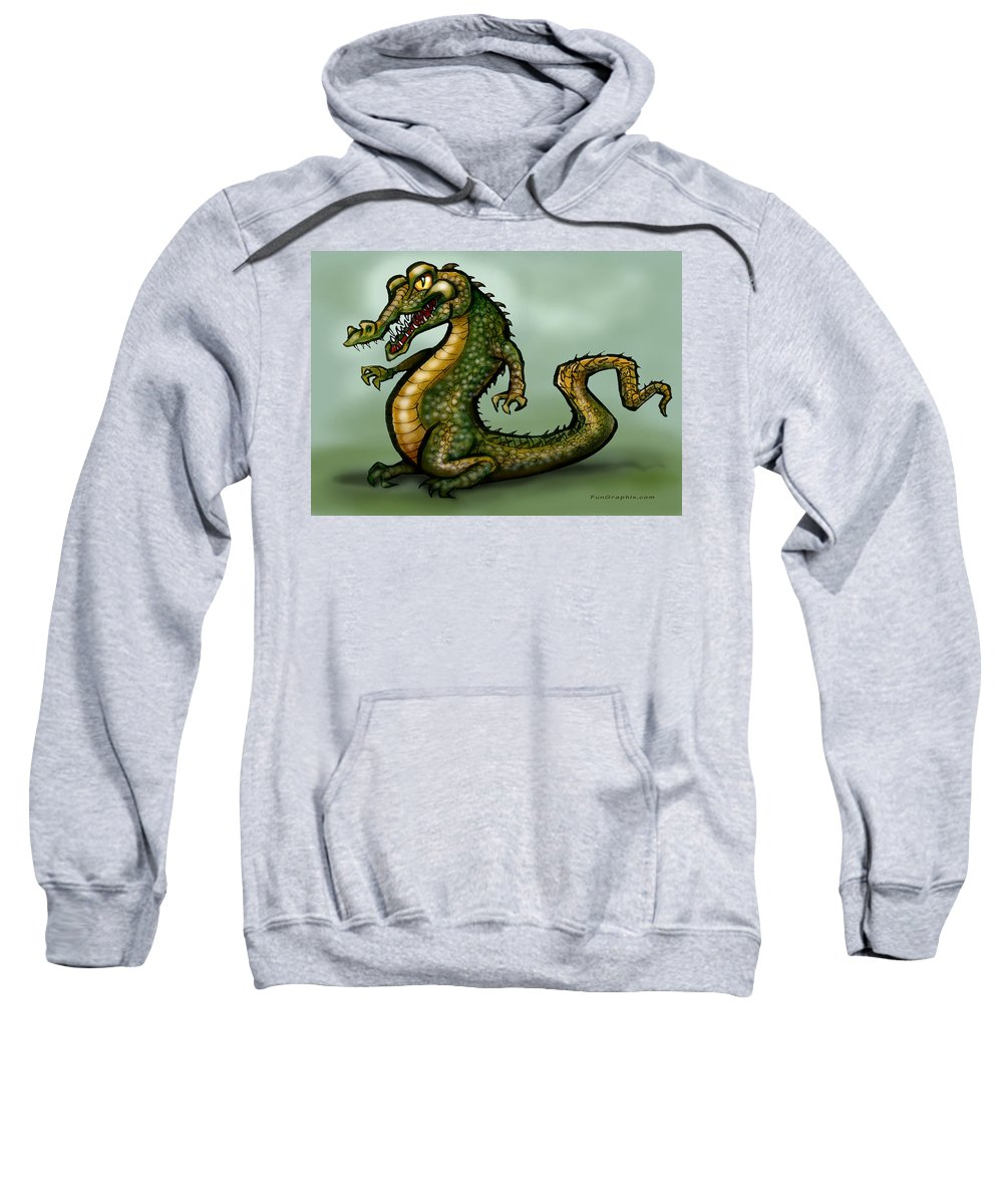 Crocodile Sweatshirt featuring the digital art Crocodile by Kevin Middleton