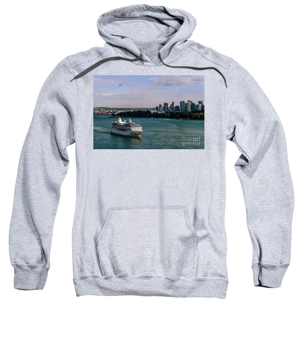 Vancouver Cityscape Sweatshirt featuring the photograph Cruise Ship 5 by Viktor Birkus