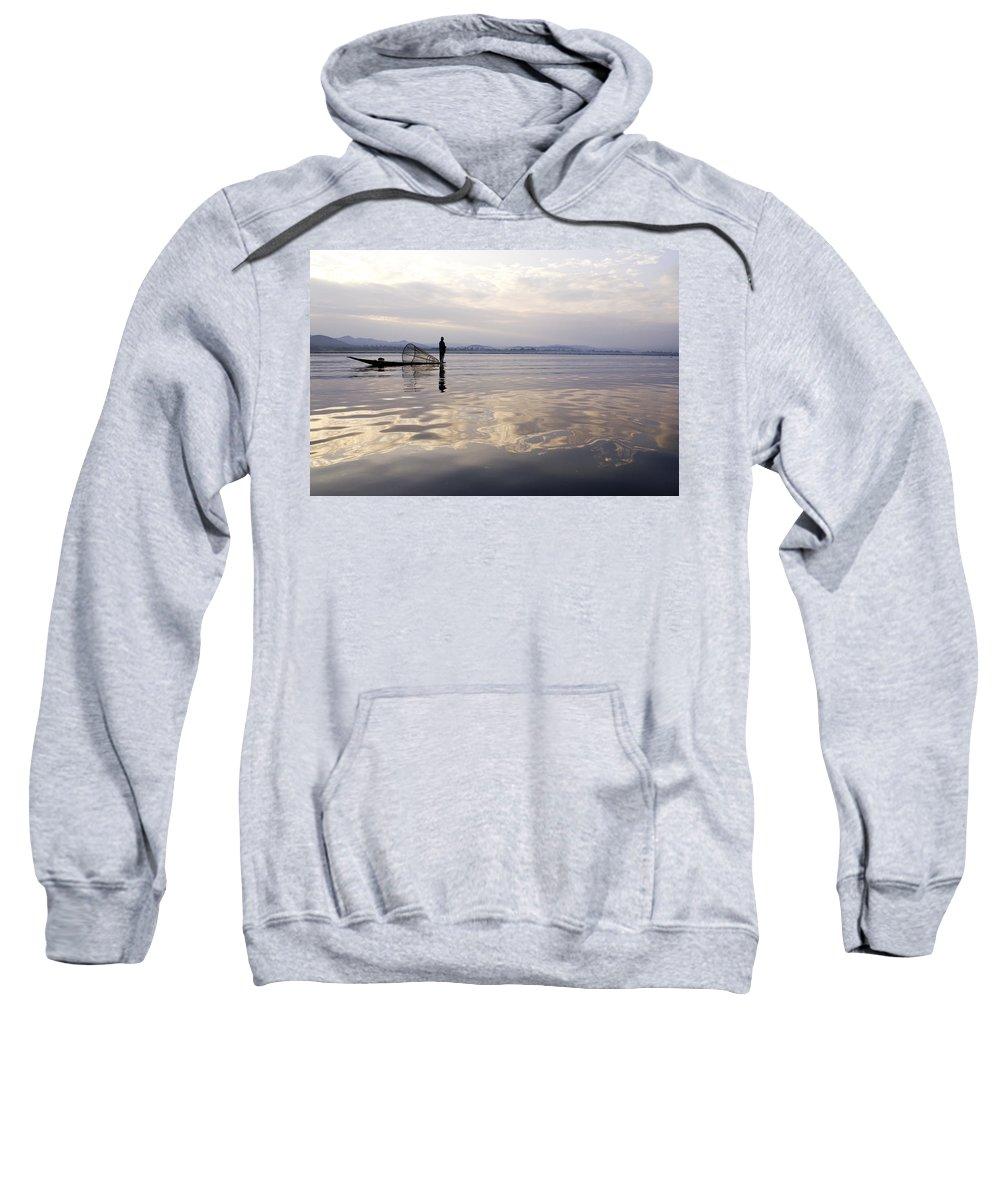 Sunrise Sweatshirt featuring the photograph Dawn On Inle Lake by Michele Burgess