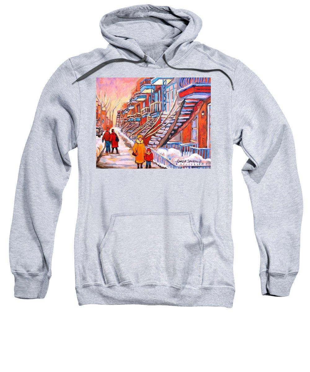 Debullion Street Winter Walk Sweatshirt featuring the painting Debullion Street Winter Walk by Carole Spandau