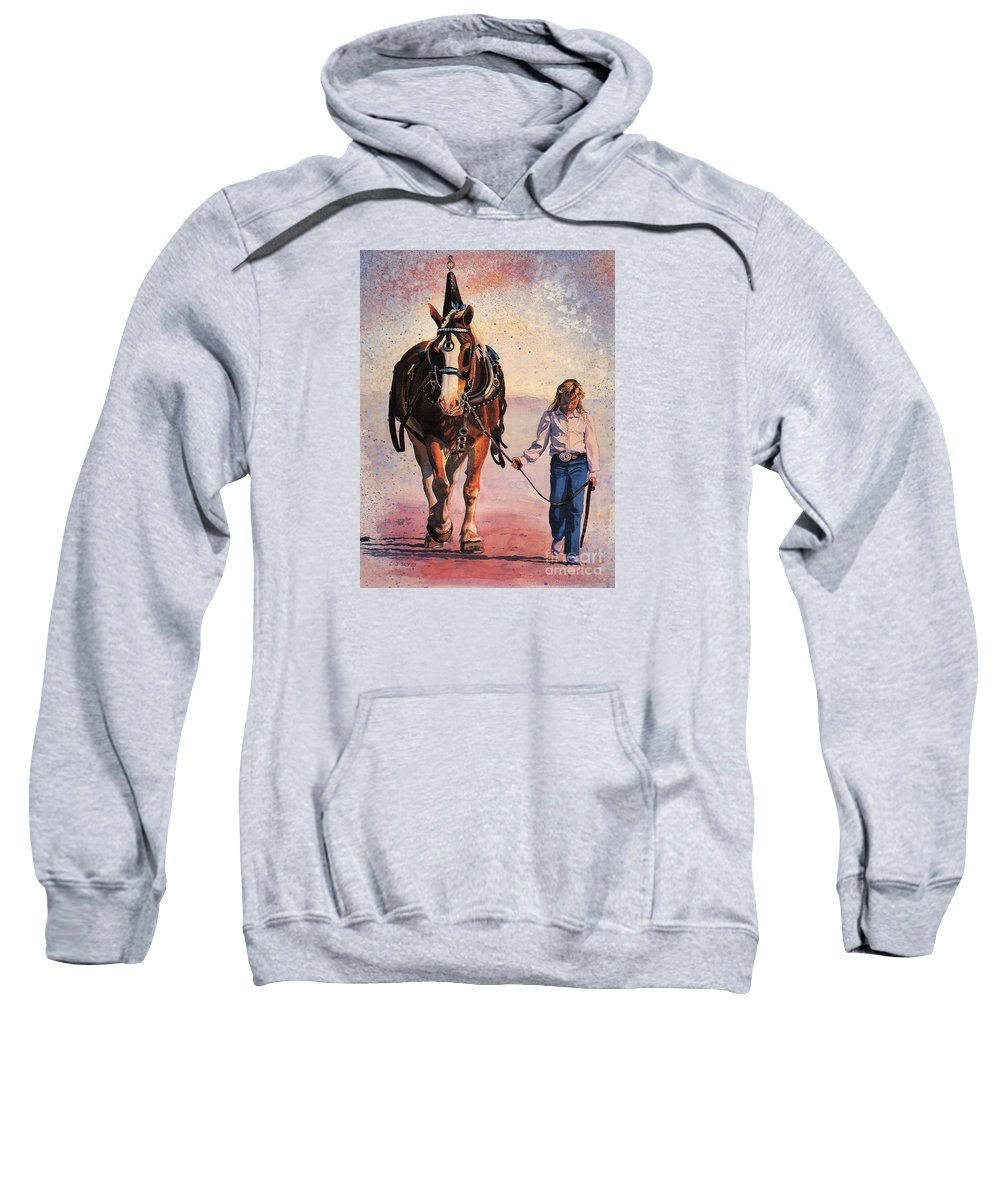 Horse And Girl Portrait Sweatshirt featuring the painting Dreams by Cathy Sky