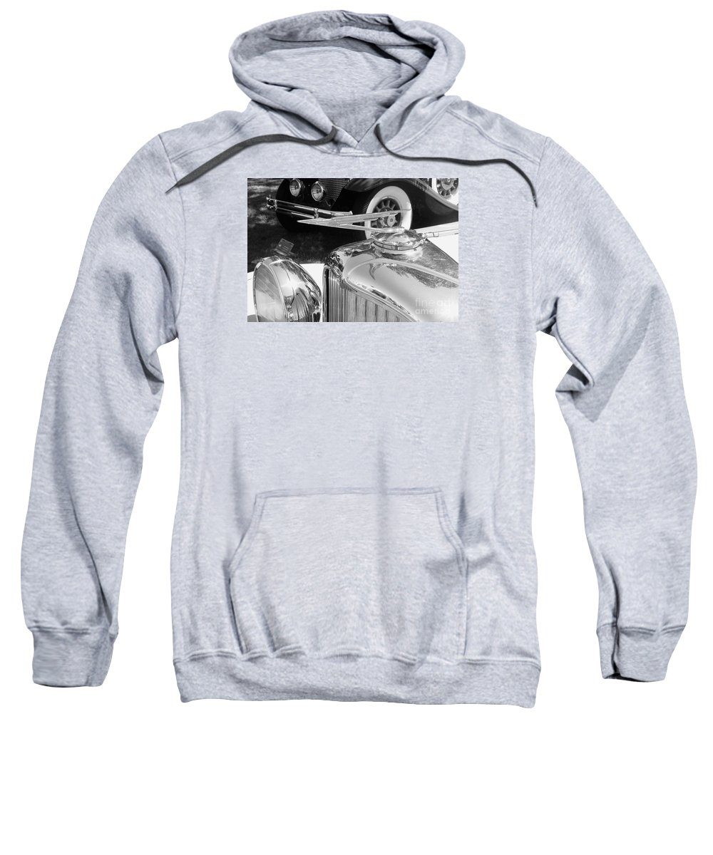 Duesenberg Sweatshirt featuring the photograph Duesenberg Hood Ornament by Neil Zimmerman