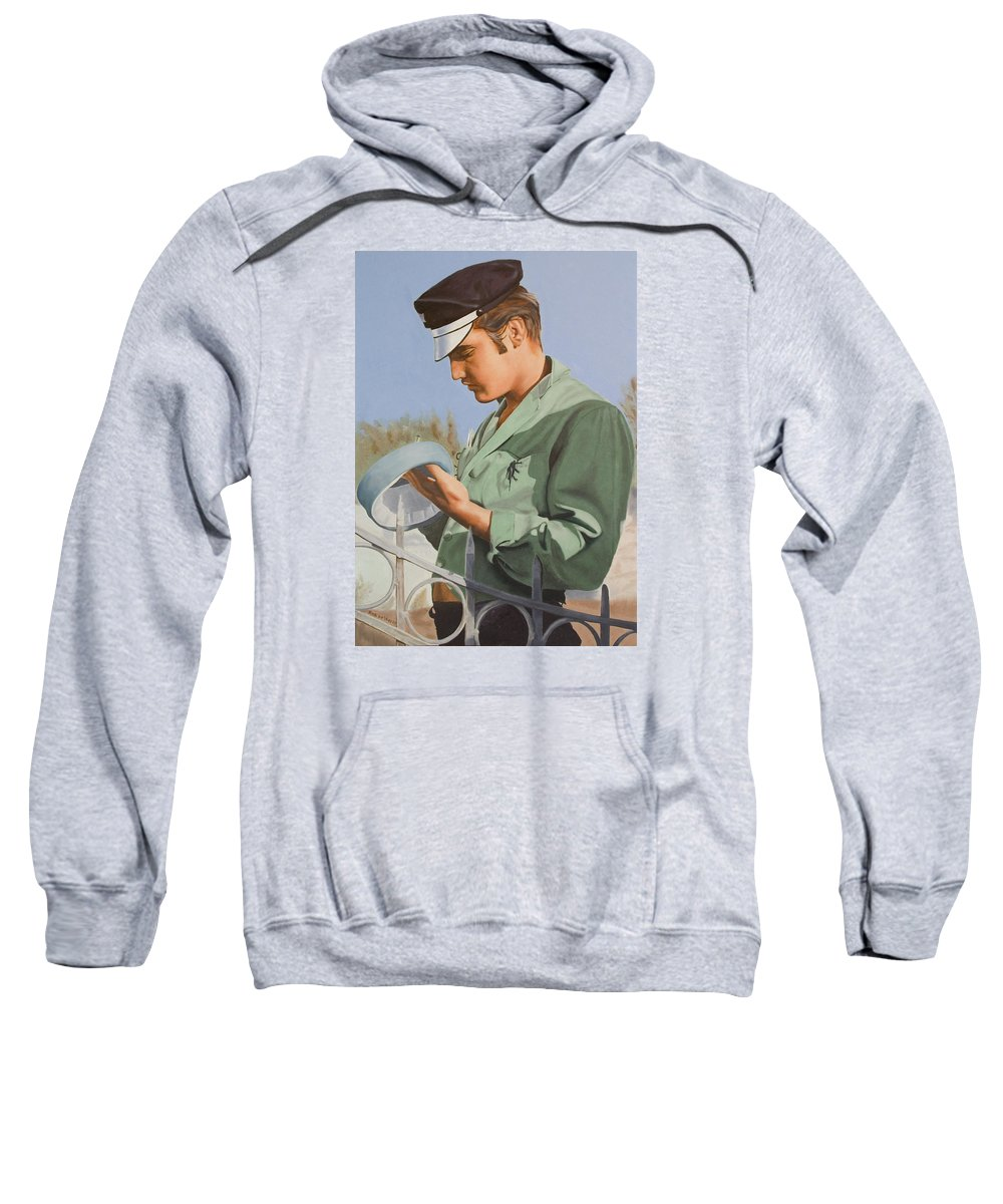Singer Sweatshirt featuring the painting Elvis Presley by Rob De Vries