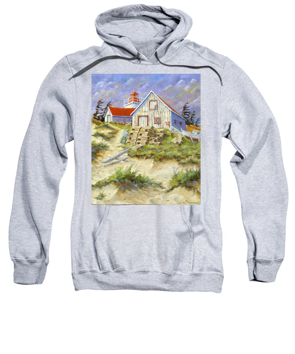 Art Sweatshirt featuring the painting End Of Lobster Season by Richard T Pranke