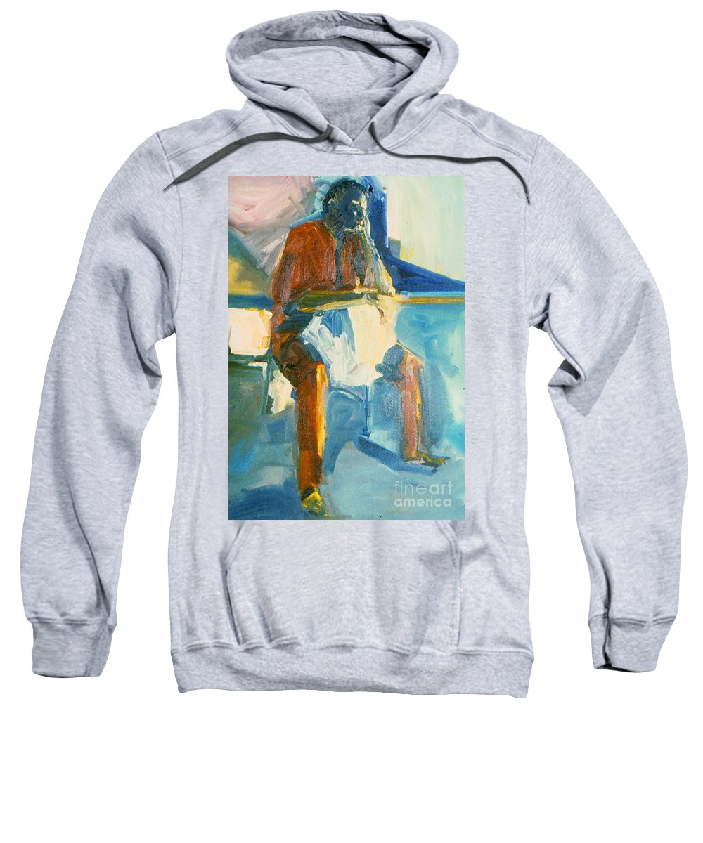 Oil Painting On Paper Sweatshirt featuring the painting Ernie by Daun Soden-Greene