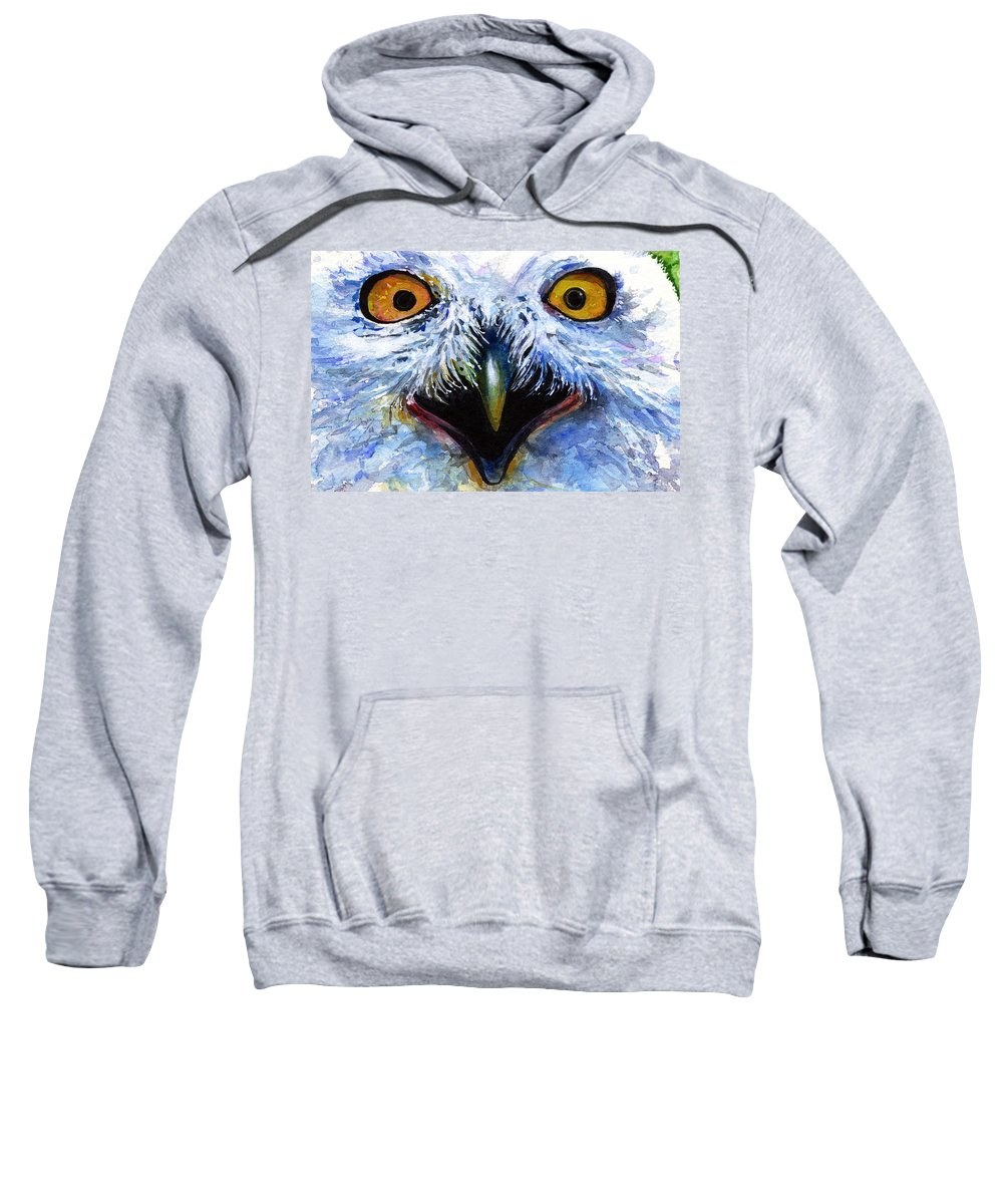 Eye Sweatshirt featuring the painting Eyes Of Owls No. 15 by John D Benson