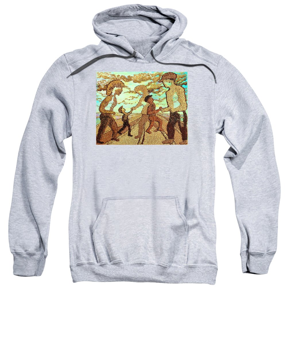Agricultural Sweatshirt featuring the mixed media Farm Family by Naomi Gerrard