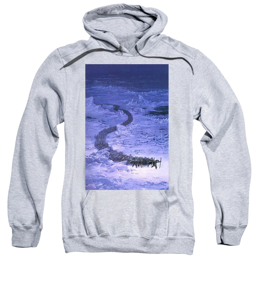 Snake Sweatshirt featuring the digital art Fingolfin Leads The Host Across The Helcaraxe Ted Nasmith by Eloisa Mannion