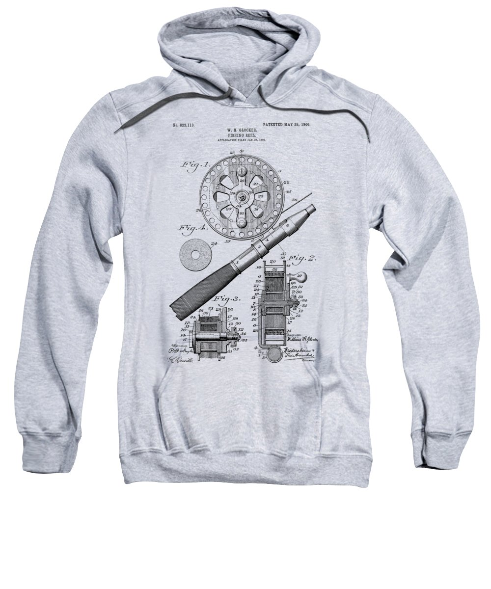 Fishing Reel Sweatshirt featuring the photograph Fishing Reel Patent 1906 by Chris Smith