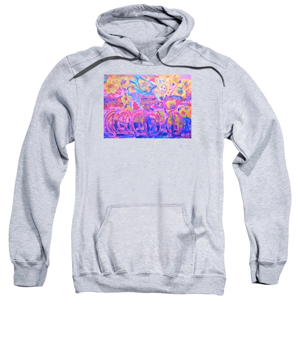 Abstract Impressionism Playfully Colorful Flowers Flying Bike Rider Sweatshirt featuring the painting Fleeting Youth by Thomas Dudas