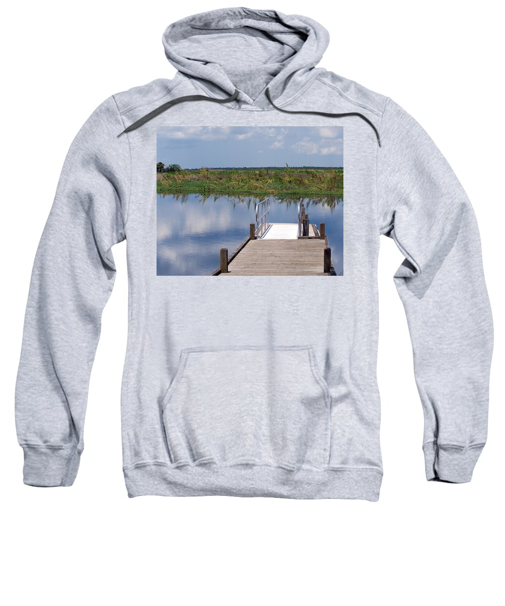 Florida; River; St; Johns; Saint; John; Flow; Flows; North; South Direction; Flowing; Current; Backw Sweatshirt featuring the photograph Florida Backwater by Allan Hughes