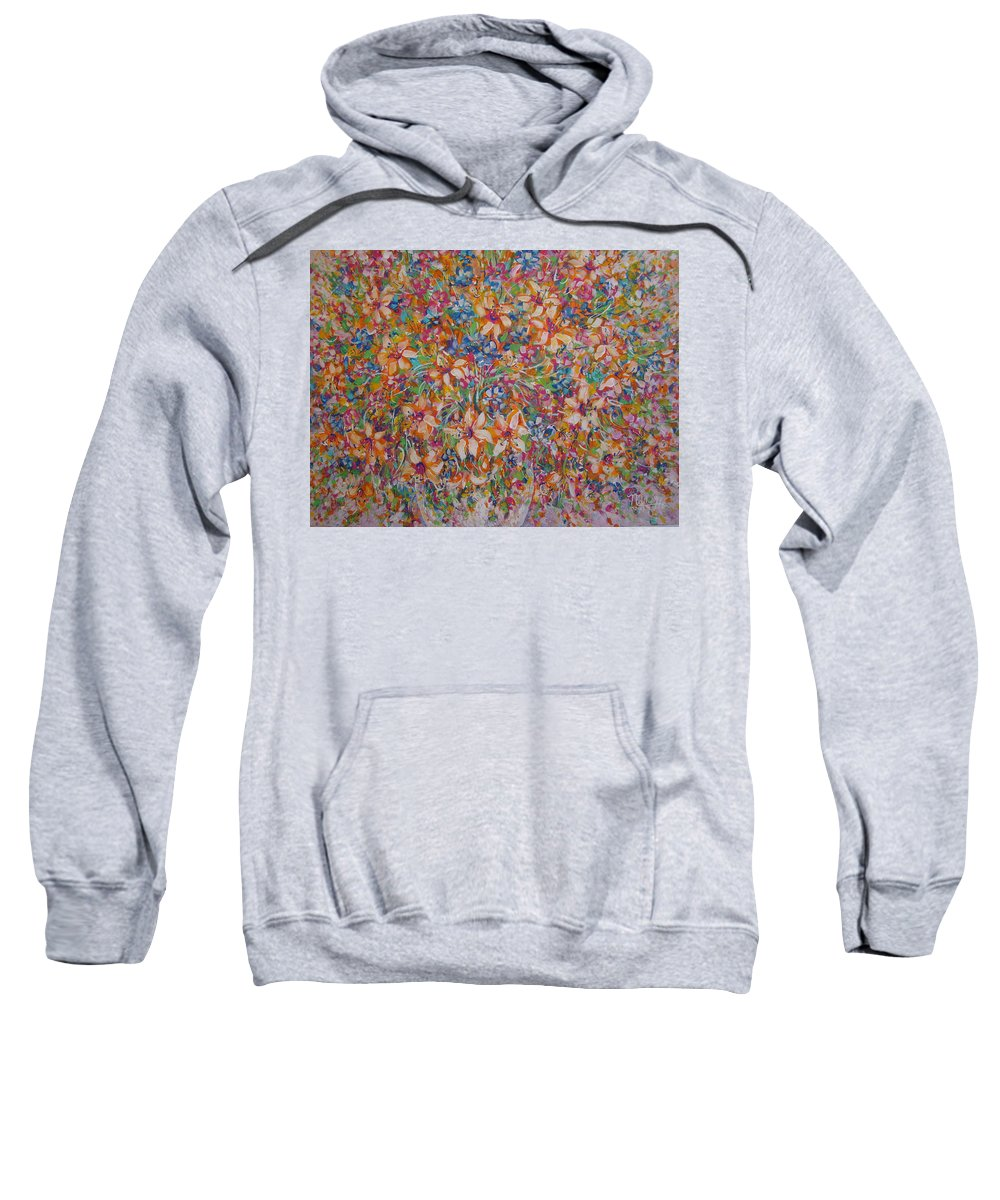 Flowers Sweatshirt featuring the painting Flower Galaxy by Natalie Holland