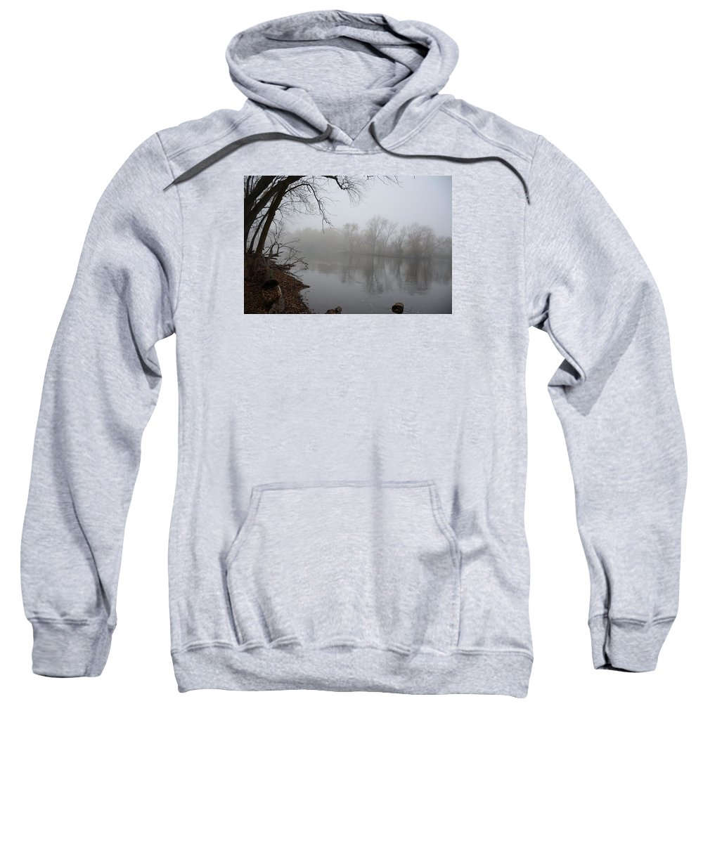 River Sweatshirt featuring the photograph Foggy River by Brenda Zych
