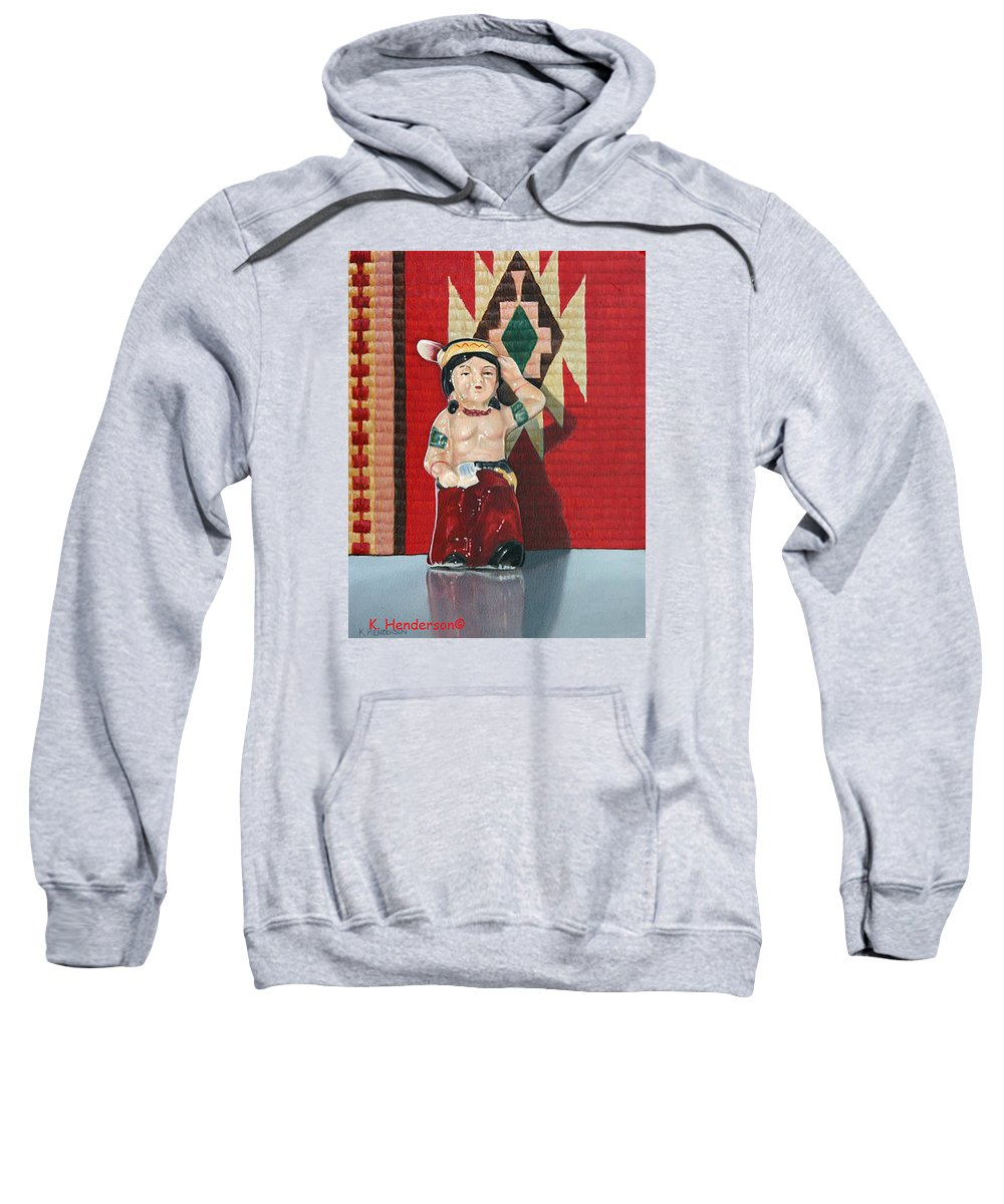American Indian Sweatshirt featuring the painting Forever Brave by K Henderson