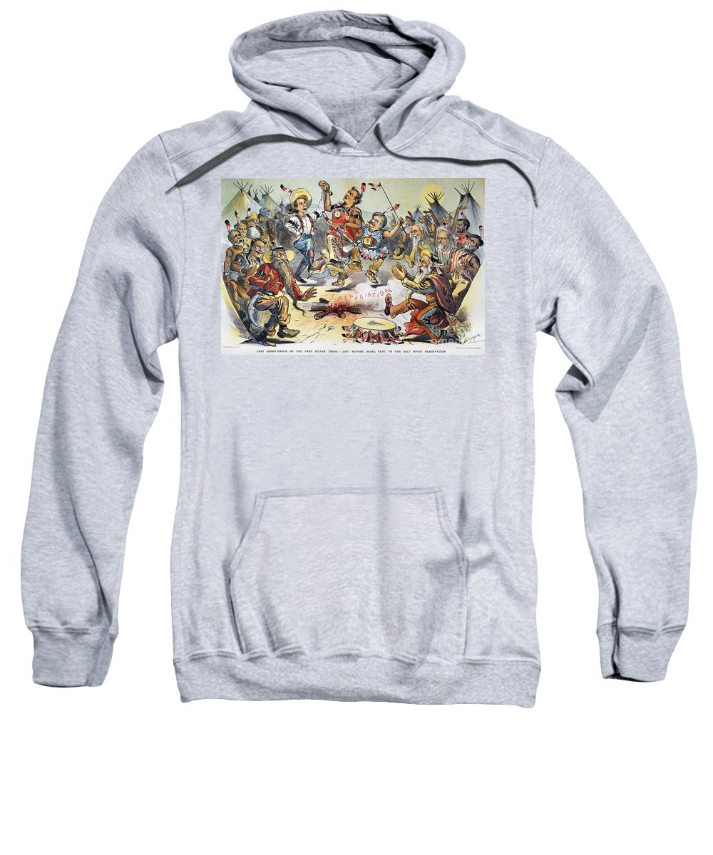 1896 Sweatshirt featuring the photograph Free Silver Cartoon, 1896 by Granger