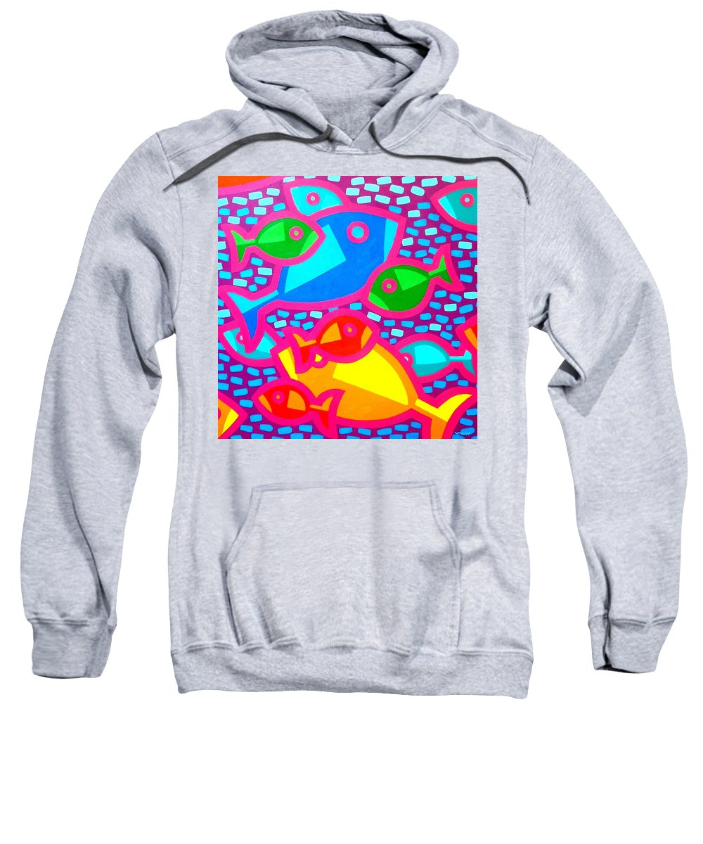 Fish. Psychedelic Sweatshirt featuring the painting Funky Fish by John Nolan