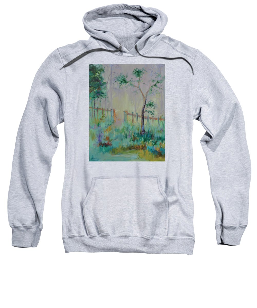 Garden Sweatshirt featuring the painting Garden And Beyond by Ginger Concepcion