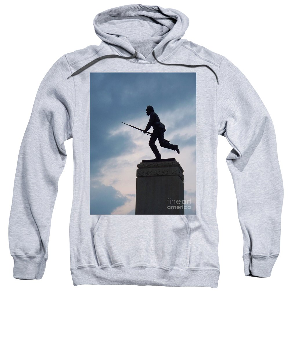Minnesota Sweatshirt featuring the photograph Gettysburg Statue by Eric Schiabor