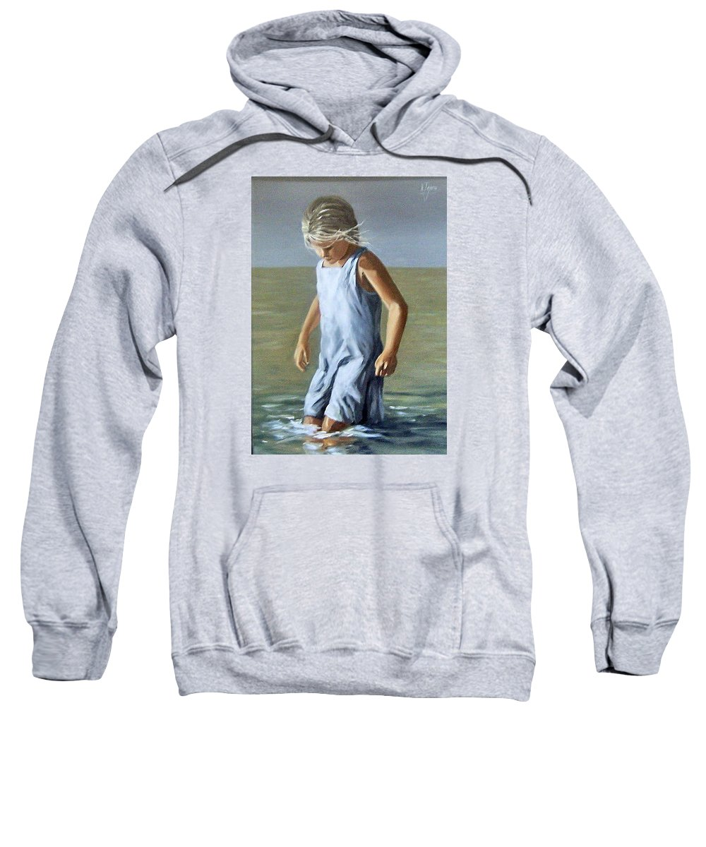Girl Children Reflection Water Sea Figurative Portrait Sweatshirt featuring the painting Girl by Natalia Tejera