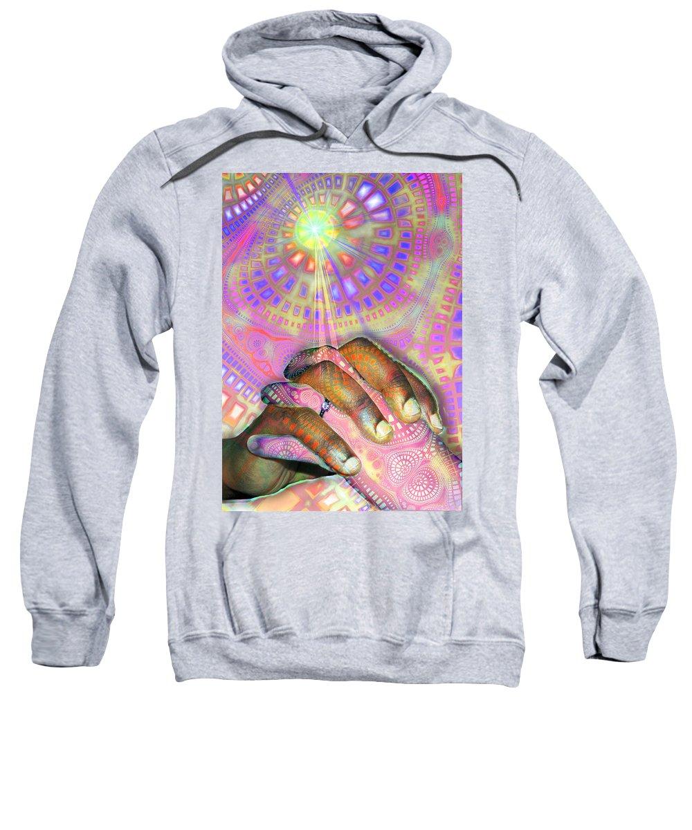 God Sweatshirt featuring the digital art God Is Love by Tony Macelli