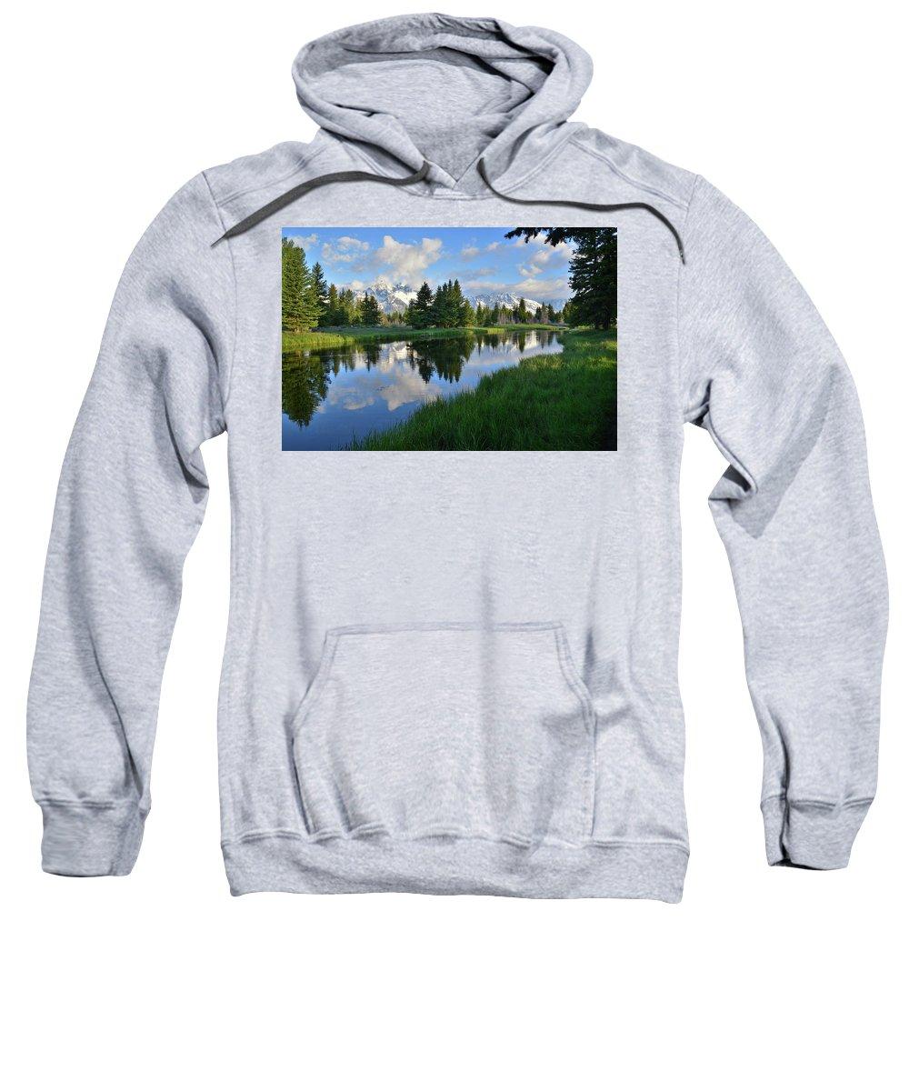 Grand Teton National Park Sweatshirt featuring the photograph Grand Teton Reflection by Ray Mathis