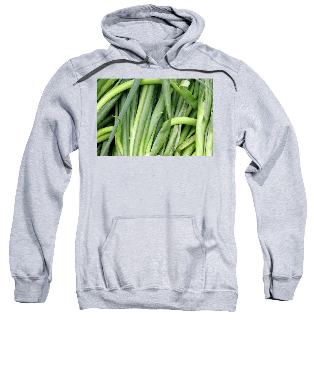 Shallots Sweatshirt featuring the photograph Green Onion Market Bergen by KG Thienemann