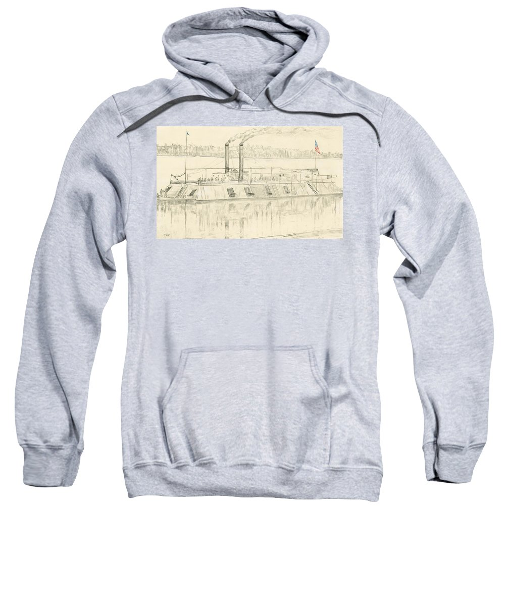 Gunboat Sweatshirt featuring the drawing Gunboat by Dennis Larson