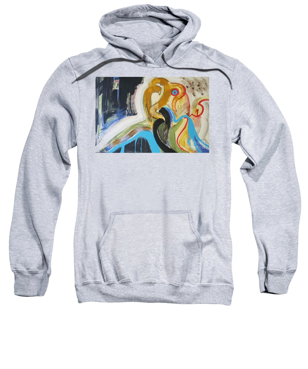 Abstract Art Paintings Sweatshirt featuring the painting Hard To Escape by Seon-Jeong Kim